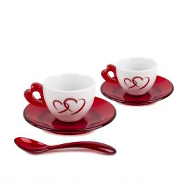 Set de 2 tasses a café +sous tasses coeur rouge GUZZINI marque pas cher prix dégriffés destockage