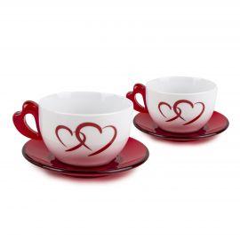 Set de 2 tasses+ sous tasses coeur rouge GUZZINI marque pas cher prix dégriffés destockage