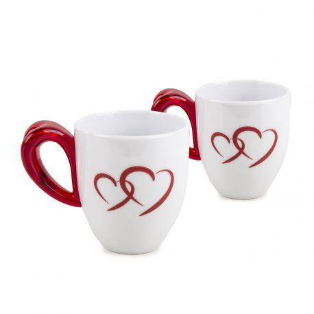 Set de 2 mugs coeur rouge GUZZINI marque pas cher prix dégriffés destockage