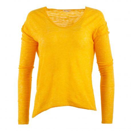 Pull fin jaune moutarde femme AMERICAN VINTAGE marque pas cher prix dégriffés destockage