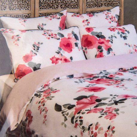 Parure housse de couette florale 240x220cm / Taies 65x65cm INES DE LA FRESSANGE marque pas cher prix dégriffés destockage