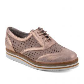 Chaussures Derbies roses brillantes en cuir femme Romy DORKING marque pas cher prix dégriffés destockage