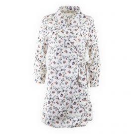 Robe blanche imprimée fleurie cache-coeur femme SEASON