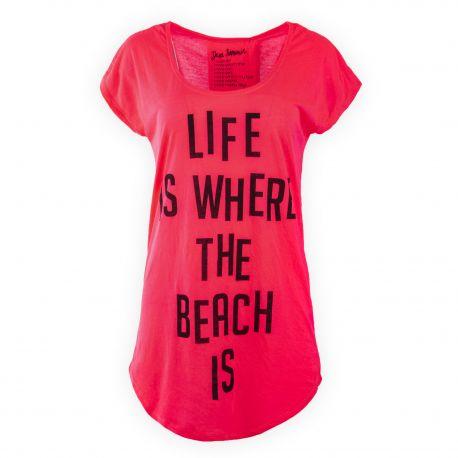 Tee shirt long rouge fluo femme Liquittiz