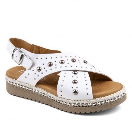 Sandales blanches cloutées Femme DORKING marque pas cher prix dégriffés destockage