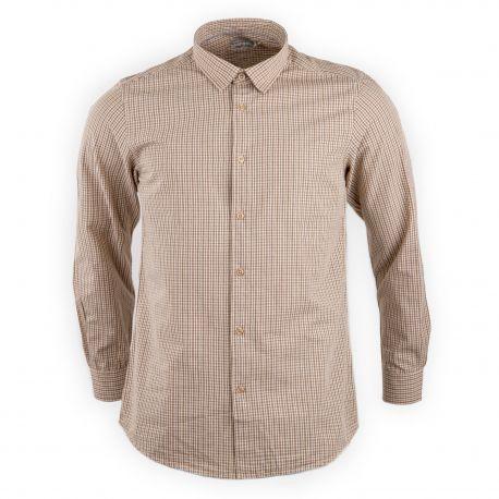 Chemise marron à petits carreaux slim fit homme BEST MOUNTAIN marque pas cher prix dégriffés destockage