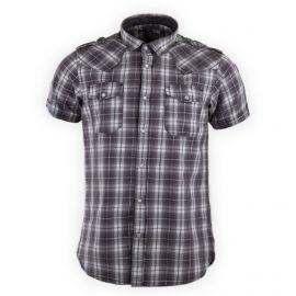 Chemise grise à carreaux manches courtes homme BEST MOUNTAIN marque pas cher prix dégriffés destockage