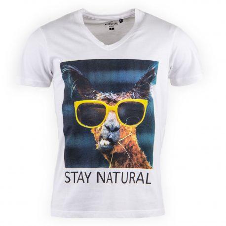Tee shirt blanc imprimé lama homme BEST MOUNTAIN marque pas cher prix dégriffés destockage