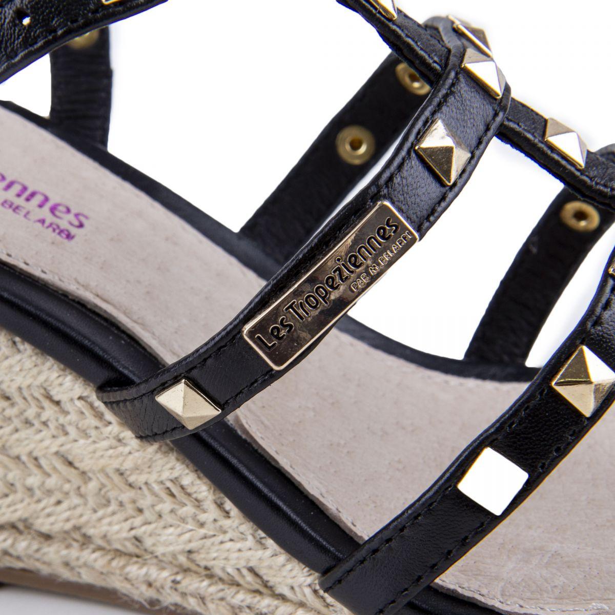 Sandales compensées noires cloutées CRISTELA Femme LES