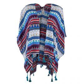 Poncho bleu motif ethnique femme BEST MOUNTAIN
