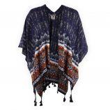 Poncho bleu foncé motif aztèque femme BEST MOUNTAIN marque pas cher prix dégriffés destockage