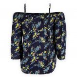 Haut bleu foncé fleuri épaules dénudées femme BEST MOUNTAIN marque pas cher prix dégriffés destockage