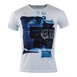 Tee shirt blanc floqué Homme PEPE JEANS