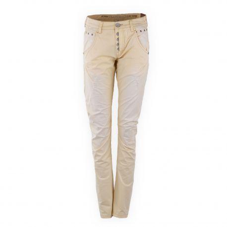 Pantalon slim beige Femme TIME ZONE marque pas cher prix dégriffés destockage