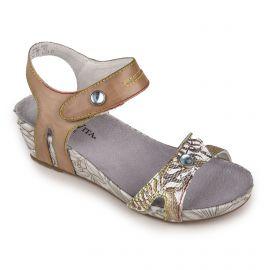 Sandale compensee beclindao-029 rouge/beige/noir LAURA VITA marque pas cher prix dégriffés destockage