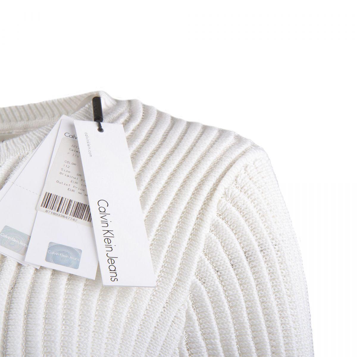 new collection footwear best value Pull blanc côtelé ajouré Femme CALVIN KLEIN à prix dégriffé !