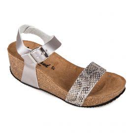 Sandales argentées compensées python Femme WHY LAND