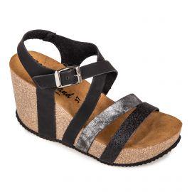 Sandales noires à talons compensés Femme WHY LAND