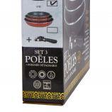 Lot 3 poeles 20/24/28cm induction manche amovible avec couvercle Mixte NAPOLEON