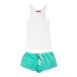 Ensemble Pyjama débardeur blanc short vert à pois Femme BANANA MOON marque pas cher prix dégriffés destockage
