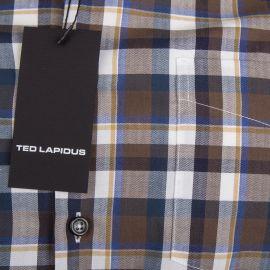 Chemise marron à carreaux manches longues Homme TED LAPIDUS
