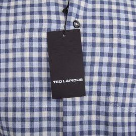Chemise bleue à carreaux manches longues Homme TED LAPIDUS