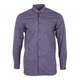 Chemise bicolore à carreaux coupe droite manches longues Homme TED LAPIDUS marque pas cher prix dégriffés destockage