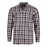 Chemise marron à carreaux coupe droite manches longues Homme TED LAPIDUS marque pas cher prix dégriffés destockage