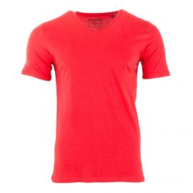 Tee shirt rouge manches courtes col V Homme JACK AND JONES